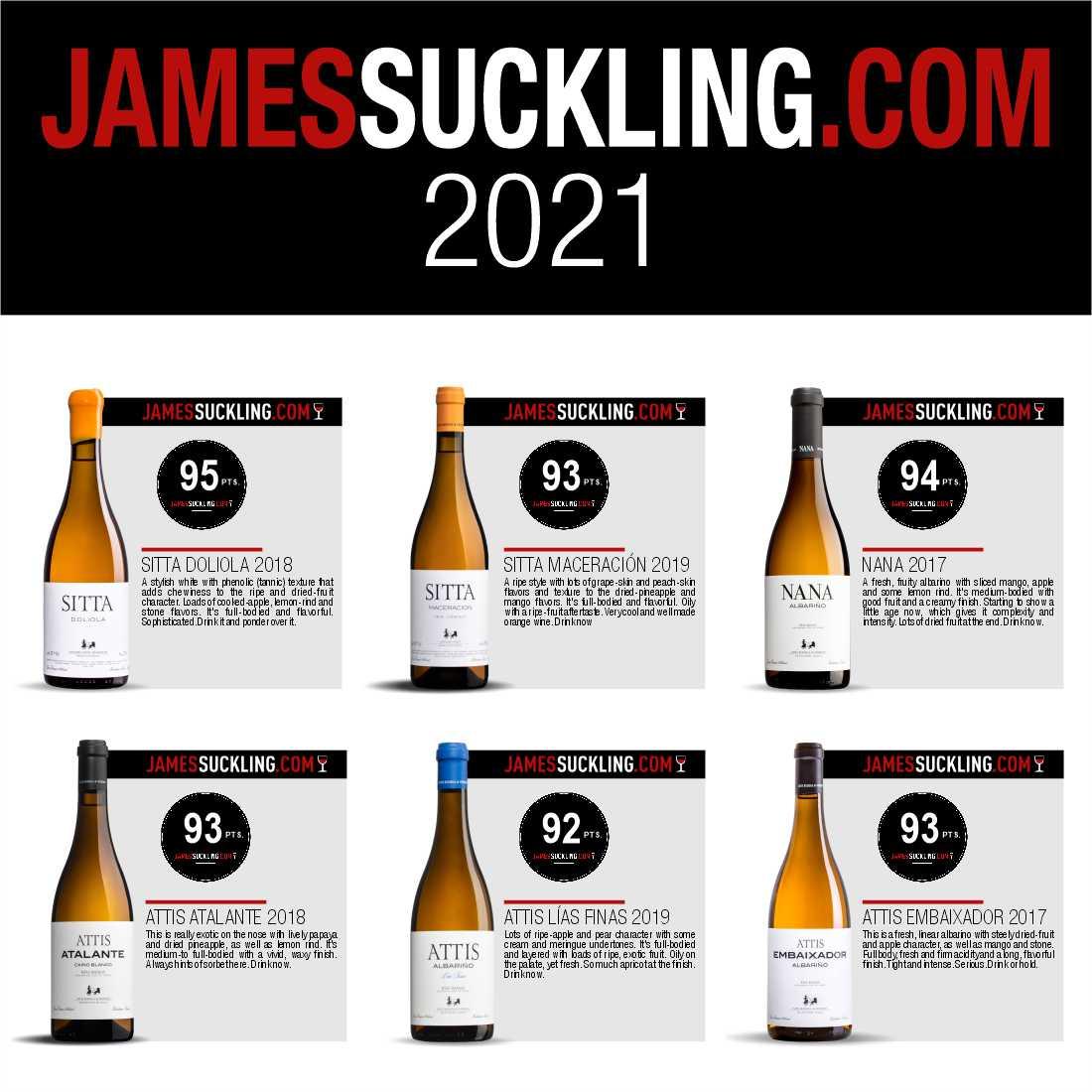 Puntuaciones de James Suckling para los vinos de Attis
